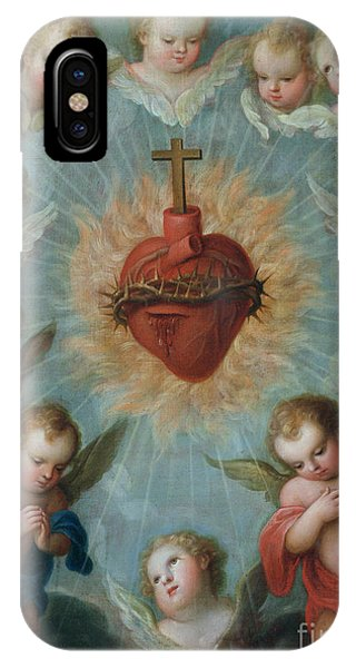 Christian Cross iPhone Case - Sacred Heart Of Jesus Surrounded By Angels by Jose de Paez