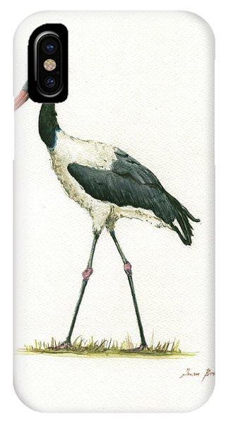 Crane iPhone Case - Saddle Billed Stork by Juan Bosco