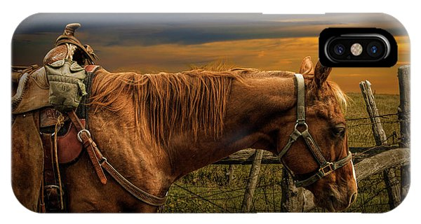 Saddle Horse On The Prairie IPhone Case