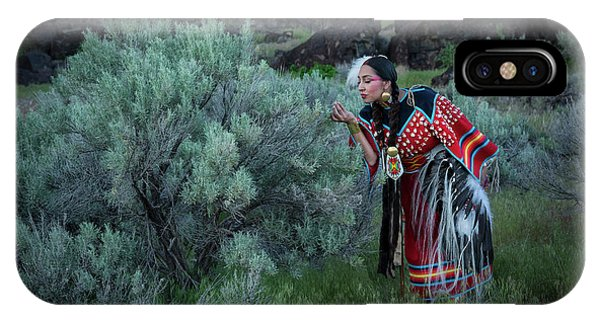 Native American Spirit Portrait iPhone Case - Sage Woman by Christian Heeb