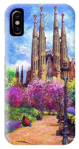 Sunny iPhone Case - Sagrada Familia And Park Barcelona by Jane Small