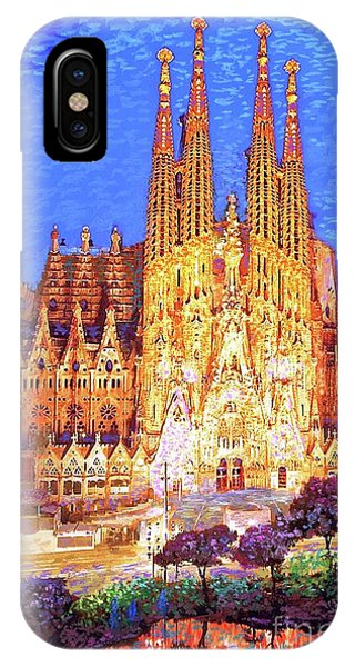 Temple iPhone Case - Sagrada Familia At Night by Jane Small