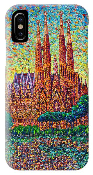 Sagrada Familia Barcelona Modern Impressionist Palette Knife Oil Painting By Ana Maria Edulescu IPhone Case