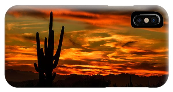 IPhone Case featuring the photograph Saguaro Sunset H51 by Mark Myhaver