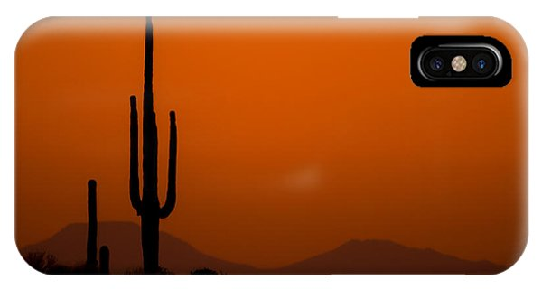 IPhone Case featuring the photograph Saguaro Sunset by Jeff Phillippi