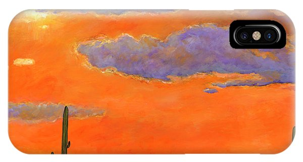 Orange Color iPhone Case - Saguaro Sunset by Johnathan Harris