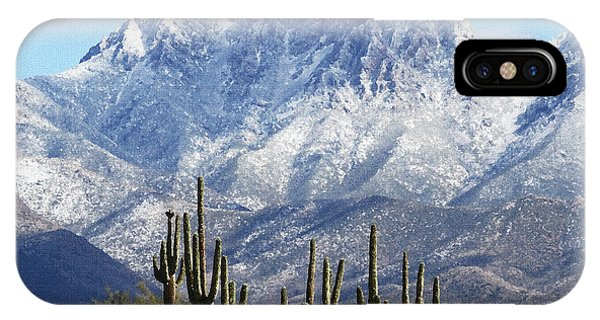 Saguaros At Four Peaks With Snow IPhone Case