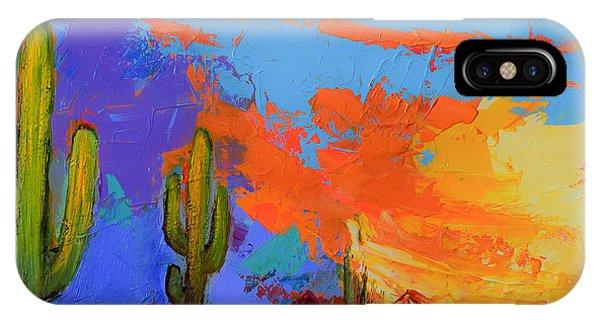 Fauvism iPhone Case - Saguaros Land Sunset By Elise Palmigiani - Square Version by Elise Palmigiani