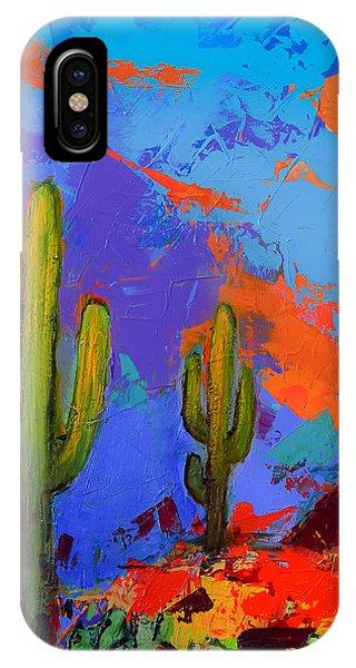 Saguaros Land Sunset By Elise Palmigiani - Square Version IPhone Case