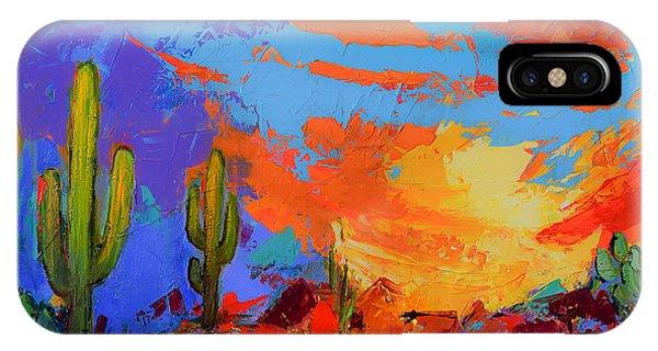 Fauvism iPhone Case - Saguaros Land Sunset by Elise Palmigiani
