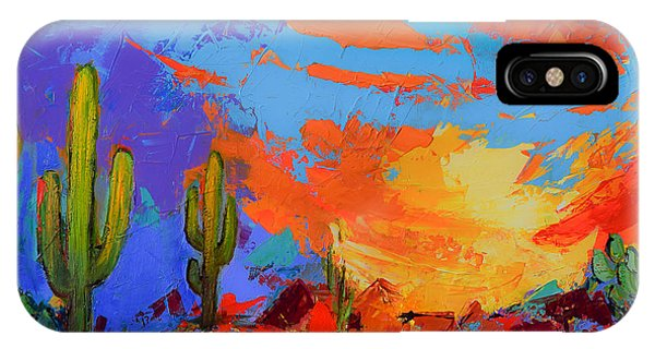 Saguaros Land Sunset IPhone Case