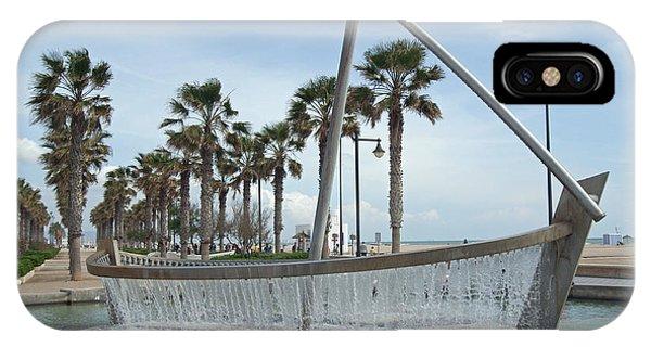 Sail Boat Fountain In Valencia IPhone Case