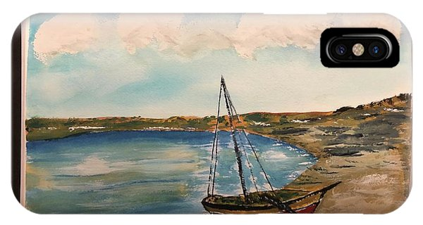 IPhone Case featuring the painting Sail Boat On Shore by Donald Paczynski