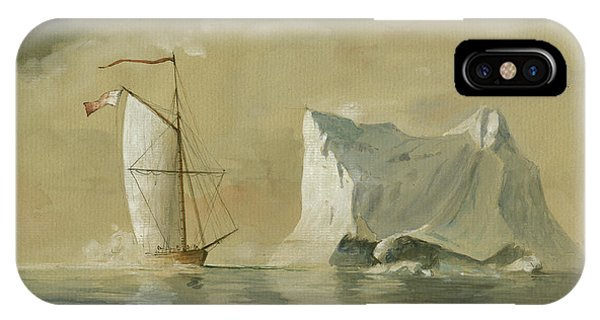 Ship iPhone Case - Sail Ship At The Ice by Juan Bosco