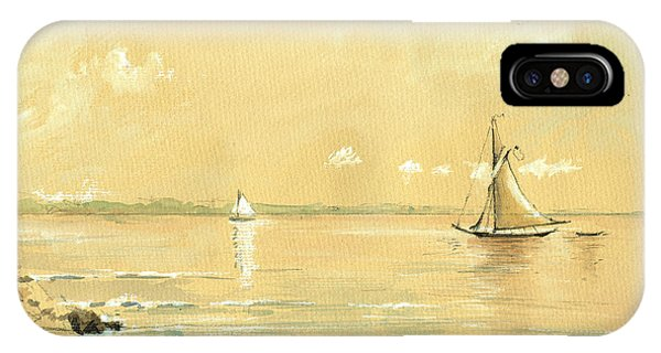 Ship iPhone Case - Sail Ship Watercolor by Juan  Bosco