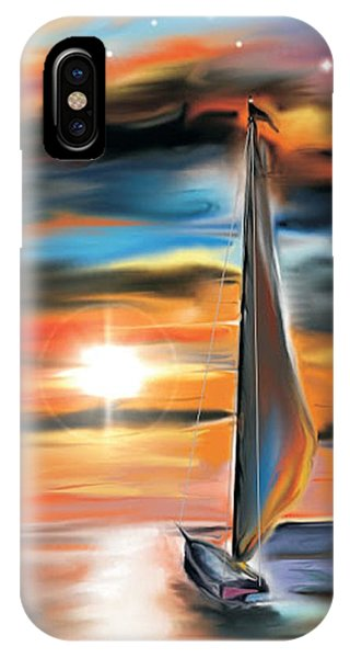 Sailboat And Sunset IPhone Case