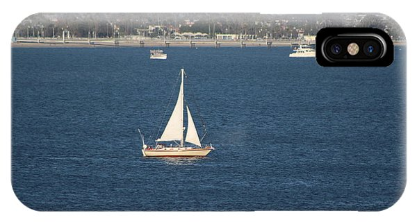 Sailboat On The Pacific In Long Beach IPhone Case