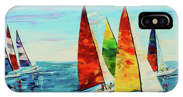IPhone Case featuring the painting Sailboat Race by Kevin Brown