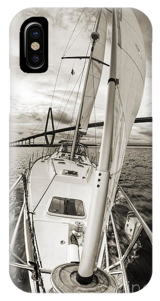 Sailboat Sailing Past Arthur Ravenel Jr Bridge Charleston Sc IPhone Case