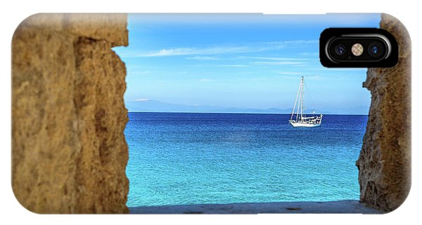 Sailboat Through The Old Stone Walls Of Rhodes, Greece IPhone Case