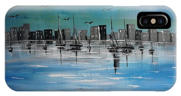Sailboats And Cityscape IPhone Case