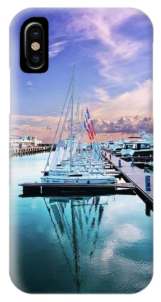 sailboats and yachts in the roads of the main sea channel of the Sochi seaport IPhone Case