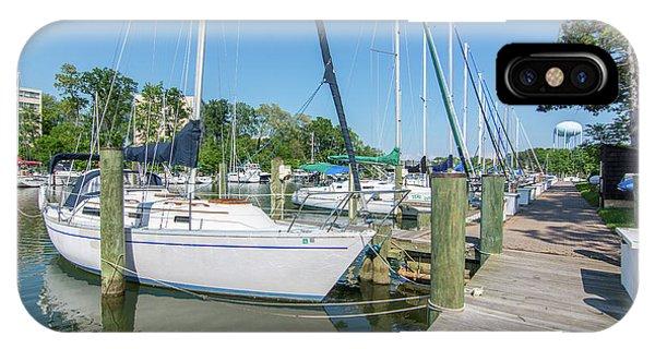 Sailboats At Dock IPhone Case