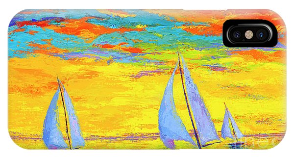 IPhone Case featuring the painting Sailboats At Sunset, Colorful Landscape, Impressionistic Art by Patricia Awapara