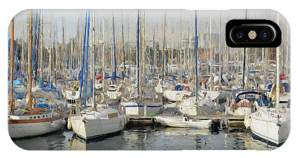 Sailboats At The Dock - Painting IPhone Case