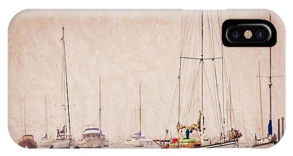 Sailboats In Morro Bay Fog IPhone Case