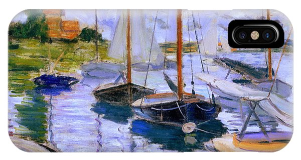 Sailboats On The Seine At Petit Gennevilliers Claude Monet 1874 IPhone Case