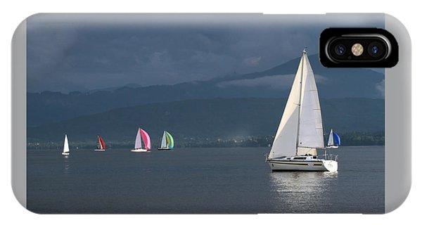 Sailing Boats By Stormy Weather, Geneva Lake, Switzerland IPhone Case