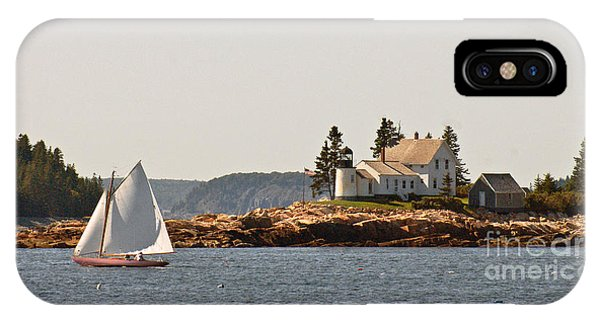 sailing by Mark Island lighthouse IPhone Case