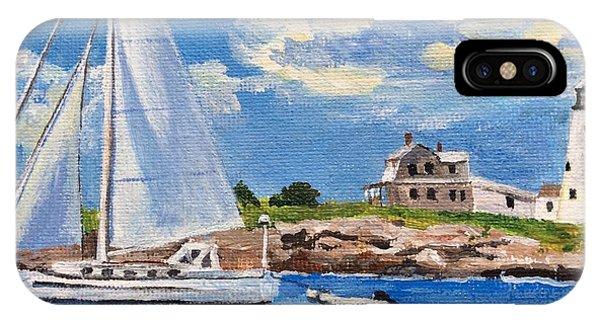 Sailing Past Wood Island Lighthouse IPhone Case
