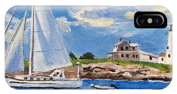 Sailing Past Wood Island Lighthouse IPhone Case