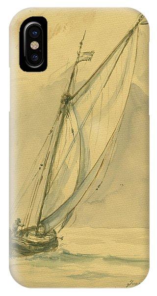 Nautical iPhone Case - Sailing Ship by Juan Bosco