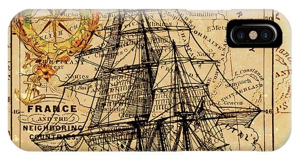 Sailing Ship Map IPhone Case