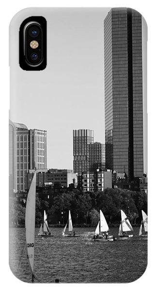Sailing The Charles River Boston Ma Black And White IPhone Case