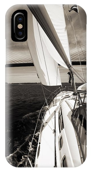Sailing Under The Arthur Ravenel Jr. Bridge In Charleston Sc IPhone Case
