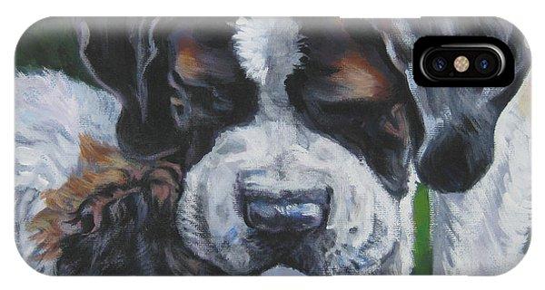 Pup iPhone Case - Saint Bernard And Pup by Lee Ann Shepard