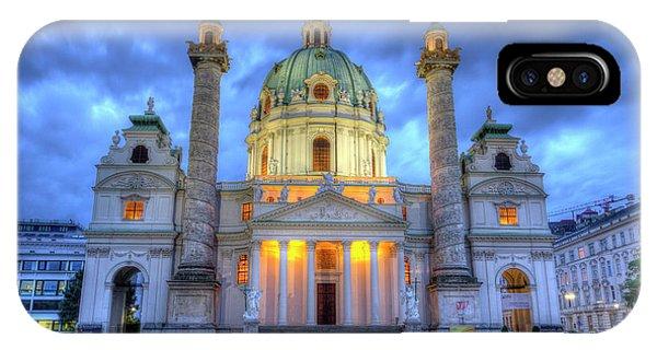 Saint Charles's Church At Karlsplatz In Vienna, Austria, Hdr IPhone Case