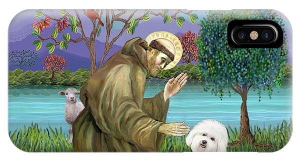 Saint Francis Blesses A Bichon Frise IPhone Case