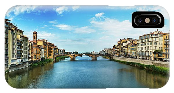 Panoramic View Of Saint Trinity Bridge From Ponte Vecchio In Florence, Italy IPhone Case