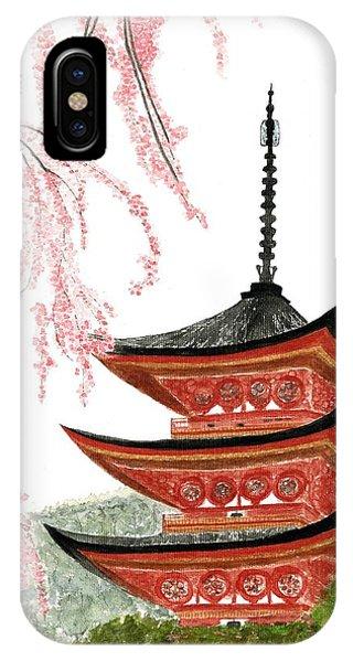Sakura At Gojunoto Pagoda IPhone Case