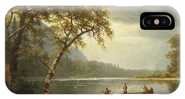 Trout iPhone Case - Salmon Fishing On The Caspapediac River by Albert Bierstadt