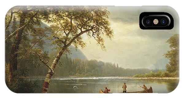 Salmon iPhone Case - Salmon Fishing On The Caspapediac River by Albert Bierstadt