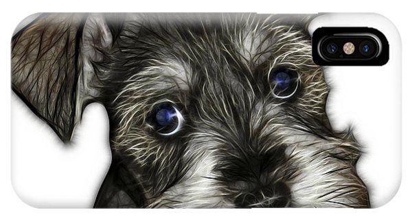 IPhone Case featuring the digital art Salt And Pepper Schnauzer Puppy 7206 Fs by James Ahn