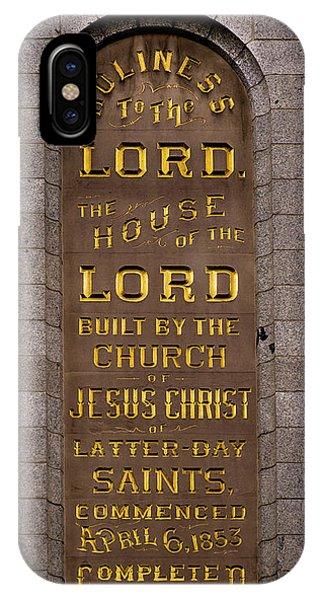 Salt Lake Lds Temple Dedication Plaque Close-up IPhone Case