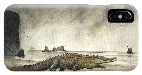 Crocodile iPhone Case - Saltwater Crocodile by Juan Bosco