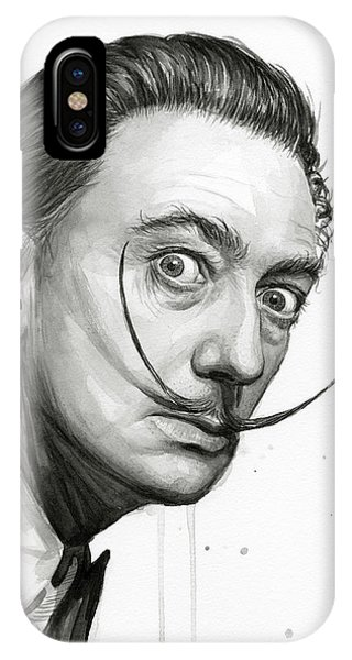 Famous Artist iPhone Case - Salvador Dali Portrait Black And White Watercolor by Olga Shvartsur